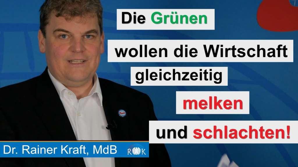 Rainer Kraft: Die Grünen wollen die Wirtschaft gleichzeitig melken und schlachten!