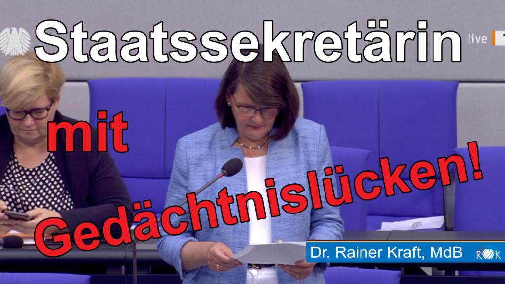 Fragestunde im Bundestag: Staatssekretärin mit Gedächtnislücken